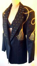GOLD tassel blazer suit jacket BLACK studded 80s elvis embroidered vintage