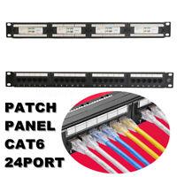 24 Port CAT6 RJ45 110 Network Ethernet Rack Mount 1U 1RU One Space Patch