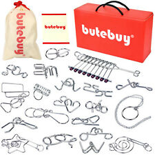BUTEBUY 20PCS Classic Metal Wire Puzzles IQ Mind Brain Teaser Game Gift Box Set