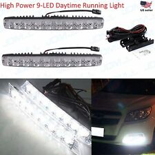"JDM ASTAR 2x Universal 10"" High Power 9-LED White DRL Daytime Running Light Bar"