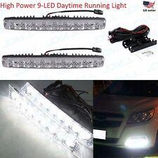 """JDM ASTAR 2x 10"""" 9-LED Universal Add on White DRL Daytime Running Fog Light Bar"""