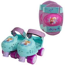 Disney Frozen Kids Glitter Rollerskates with Knee Pads Size Junior J6-J12 New