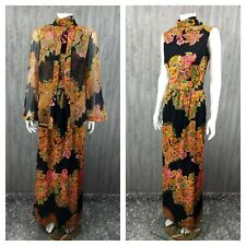 Vintage 70s Psychedelic Paisley Maxi Dress Lillie Rubin Bell Sleeve Cardigan