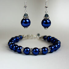 Midnight blue pearls crystal earrings chunky bracelet wedding bridal silver set