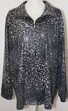 Exclusively Misook Black Gray Leopard Wet Look Shimmer Jacket Size 3X