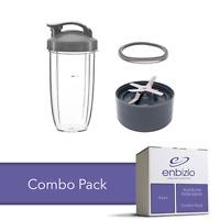 Enbizio Part NutriBullet 600W 900W Combo 32 Oz Cup + Flip Top + Blade + Gasket