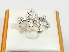 Ladies Jewellery Sterling 925 Silver White Sapphire Flower Design Gift Ring - Q