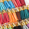Lots 30Pcs Suede Leather Tassel DIY Keychain Pendant Jewelry Finding Charms