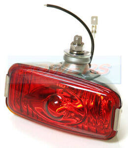 12V POLISHED STAINLESS STEEL RED REAR FOG LAMP LIGHT CLASSIC CAR MINI KIT CAR