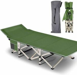 Folding Cot Camping Cot Outdoor Portable Military Cot Sleeping Cots w/ Carry Bag