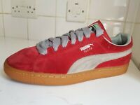 PUMA SUEDE LIFESTYLE SIZE UK 9 EU 43 MENS RED GREY LEATHER TRAINERS SHOES