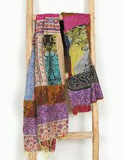 Patchwork Indian Large Silk Kantha Shawl Scarf Scarves Reversible Stole Dupatta