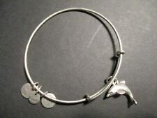 Alex And Ani Energy Dolphin Charm Silver Porpoise Expandable Bangle Bracelet