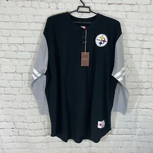 Mitchell Ness Pittsburgh Steelers 3/4 Sleeve Henley Mens 3XL NFL Throwbacks NWT