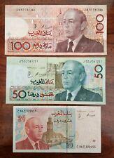 Morocco 100 Dirhams, 50 Dirhams, 20 Dirhams 3 note set. AU.