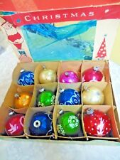 12 Vintage Mixed Christmas Balls U.S.A. & Poland