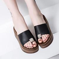 Fashion Womens Slip On Platform Wedge Heels Sandals Slippers Slides Mules Shoes