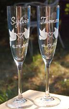 2 Sektgläser Hochzeitsgläser Glasgravur ECHT HANDGESCHLIFFEN Hochzeit