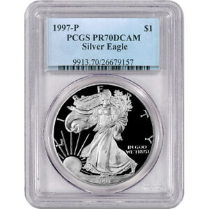 1997-P Proof American Silver Eagle One Dollar Coin PCGS PR70 DCAM