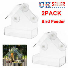 More details for 2x hanging window wild bird feeder feeding table clear perspex with suction cup