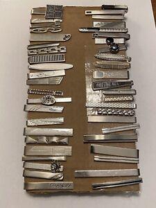45 Silver Tone Tie Bar Clip Lot Mens Jewelry Accessories Vintage
