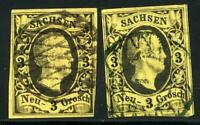 GERMANY STATES SAXONY SCOTT# 8 MICHEL# 11 USED LOT OF 2 AS SHOWN