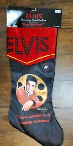 """Elvis Presley Musical Christmas Stocking Plays """"Don't Be Cruel""""  New With Hanger"""