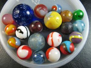 20 Vintage DAMAGED Marbles (Akro, Peltier, Christensen, German Mica)