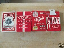 Four Complete Used Decks of Playing Cards, Torpedo, Bicycle, Tiger, Aviator