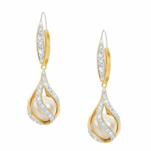 6.00 mm love's  embrace pearl &  diamond 2.10 ct earrings  14k yellow gold over