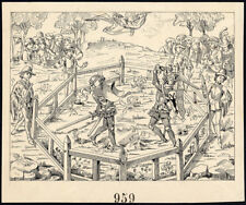 Antique Drawing-KNIGHTS-BATTLE-RING-MIDDLE AGES-ITEM 959-Gerard Claes-1900