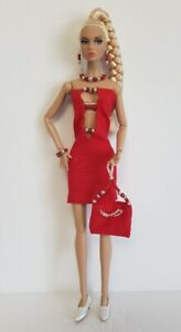 Poppy Parker Doll Clothes Red Beaded DRESS PURSE & JEWELRY Fashion NO DOLL d4e