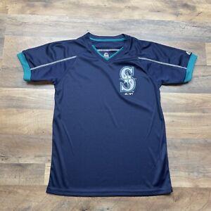 Seattle Mariners Jersey Shirt Boys Youth Large 14-16 MLB Baseball V Neck Dri-Fit