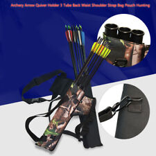 Hot Archery Arrow Quiver Holder 3 Tube Back Waist Shoulder Strap Bag Pouch Hunt