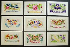 Lovely Collection 1914-18 Bulk Job Lot WW1 Embroidered Silk Postcards 9 In Total