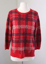 Ann Taylor Red Blue Plaid Wool Mohair Sweater Size M 3/4 Sleeves Career Winter
