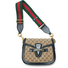 0bf7b0ec18f Gucci Lady Web GG Signature Box Authentic Black Leather Med Red Strap Italy  New1