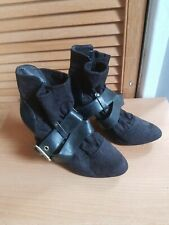 Odeon Ladies Black Suede  Buckled  Biker Styled Ankle Boots 5/38