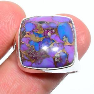 Copper Purple Turquoise-Arizona Gemstone 925 Silver Handmade Ring s.9 S264