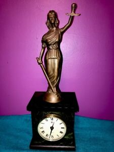 Lady Justice Bey-Berk Bronze Quartz Mantle Desk Table Clock Missing Scale Marble