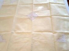 ITALIAN LINEN Servizio organdy inserts crocheted perimeter sheer tablecloth New