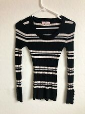 Striped Long Sleeve Stretchy Sweater Pullover Women's Size Small Black/White