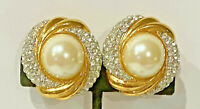 Vintage St John Round Cabochon Rhinestone Gold Tone Clip On Earrings