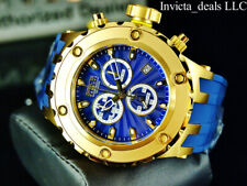Invicta Men 52mm Reserve Subaqua Diver Swiss Chrono Blue Dial Gold Tone SS Watch