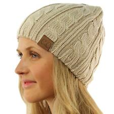 Unisex Winter Chunky Soft Stretchy Cable Knit Skull Slouch Beanie Hat Cap Beige