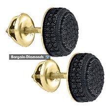 black diamond .50 carat button stud earrings 925 yellow screwback men unisex