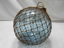 "Vintage Glass Fishing Float 9-10"" Natural Fibre FINE ROPE NET Japanese Nautical"