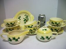 Vtg Paden City Potteries Yellow Trim Ivy in Jug 14 pc Cups Saucers Sugar Creamer
