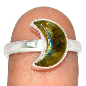 Crescent Moon - Labradorite - Madagascar 925 Silver Ring Jewelry s.7 BR69222