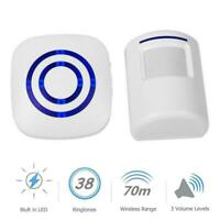 Wireless PIR Sensor Doorbell LED Driveway Alarm Home Security Security A8R9